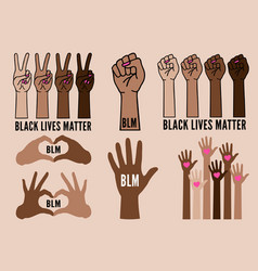 black lives matter female hands protest against vector image