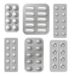 Blister tablets and pills packs realistic vector