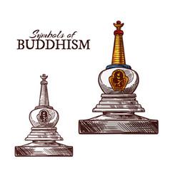 Buddhism religion symbol buddhist stupa sketch vector