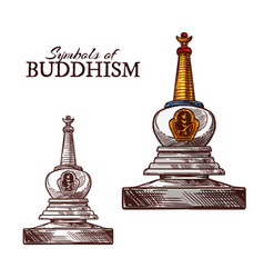 Buddhism religion symbol of buddhist stupa sketch vector