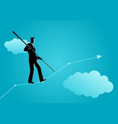 businessman balancing carefully on increasing vector image