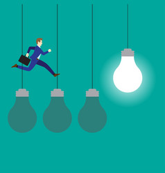 businessman jumping on three dark light bulbs vector image