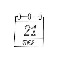 Calendar hand drawn in doodle style september 21 vector
