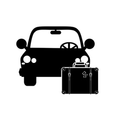 Car and suitcase icon vector