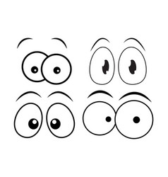 cartoon eyes set for comic book design isolated vector image