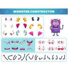 Cartoon monster constructor set vector