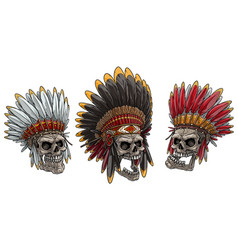 cartoon skulls in american indian chief headdress vector image