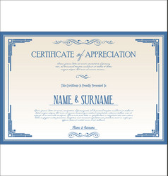 Certificate or diploma retro vintage template 08 vector