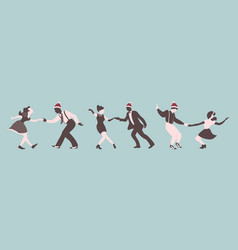 Christmas set dancing people vector
