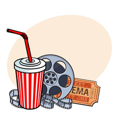 cinema attributes film reel ticket soda water vector image