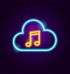 cloud music neon sign vector image