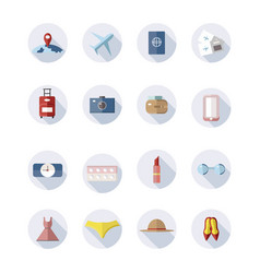 collection of travel icons girl in travel vector image
