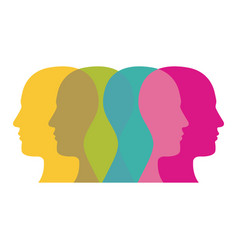 color contour humans icon vector image