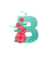 Color letter b with beautiful flowers vector