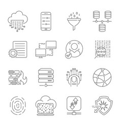 computer technology related line icon set data vector image