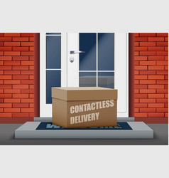 Contactless delivery box on doorstep vector