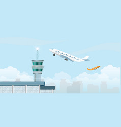Control tower with airplane taking off from vector
