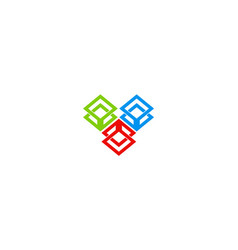 cube color technology logo vector image