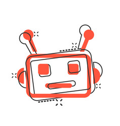Cute robot chatbot icon in comic style bot vector