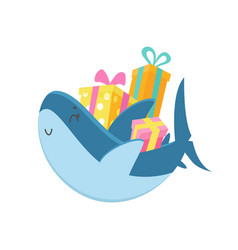 cute shark carry pile wrapped gift boxes baby vector image