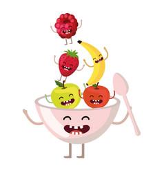 delicious tasty fruits cartoon vector image