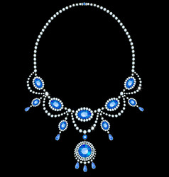Diamond necklace with sapphires vector