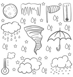 doodle of weather with cloud rain umbrella vector image