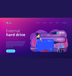 External hard drive concept landing page vector