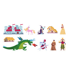 fairy tale characters medieval cartoon castles vector image