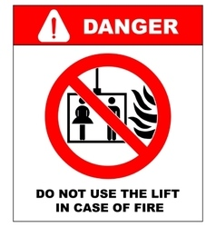fire emergency icons Do not use the lift vector image