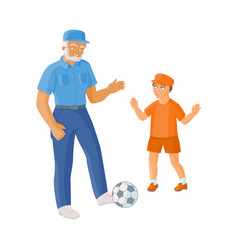 Flat grandfather grandson playing football vector