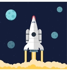 Flat rocket header background image vector image