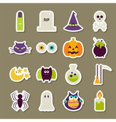 Flat Scary Halloween Stickers Collection vector
