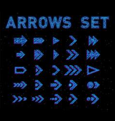 Futuristic hologram hud blue arrows set vector