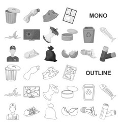Garbage and waste monochrom icons in set vector
