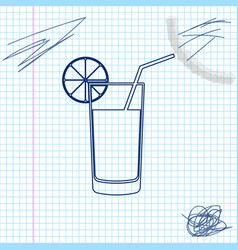 glass juice line sketch icon isolated on white vector image
