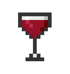 glass wine pixel art cartoon retro game style vector image