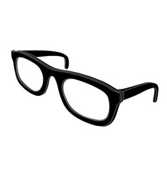 Glasses black flat icon side view vector