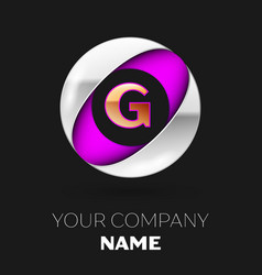 golden letter g logo in the silver-purple circle vector image