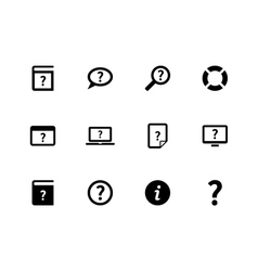 Help and FAQ icons on white background vector image