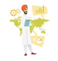 Hindu businessman working in global business vector