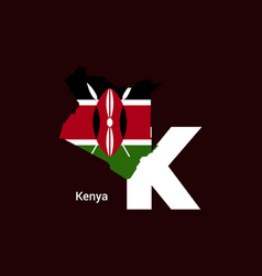 Kenya initial letter country with map and flag vector