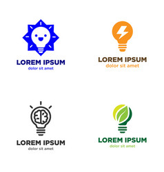 light bulb logo design set vector image