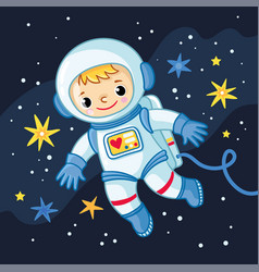 Little boy is an cosmonaut in space among vector
