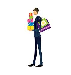 Man holding gift box vector