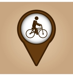 man ridding bike vintage icon vector image