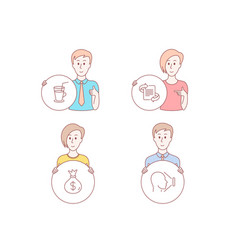marketing cocktail and money bag icons face id vector image
