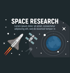 Modern space research concept banner flat style vector