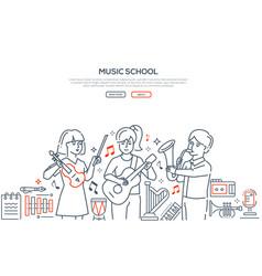 music school - modern line design style vector image