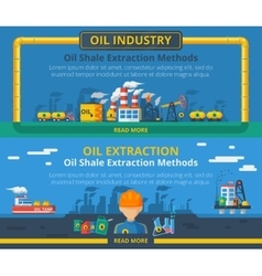 Oil industry banner set vector
